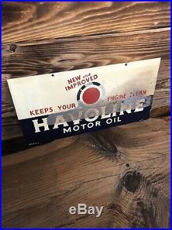 100% Original Antique Havoline Motor Oil Two Sided Tin Tacker Metal Sign 21.5x11