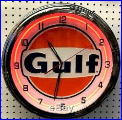 16 GULF Gasoline Motor Oil Gas Station Sign Single Neon Clock No Nox Gulftane