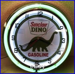18 SINCLAIR Dino Gasoline Motor Oil Gas Station Sign Double Neon Clock