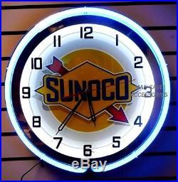 18 SUNOCO Gasoline Motor Oil Gas Station Sign Double Neon Clock