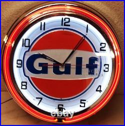 19 GULF Gasoline Motor Oil Gas Station Sign Double Neon Clock No Nox Gulftane