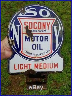 1920's Socony Standard Motor Oil Light Medium Paddle Porcelain Sign