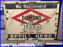 1930 Diamond 760 Motor Oil single-sided porcelain enameled sign