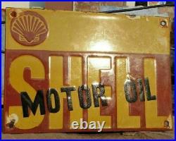 1930's Old Antique Vintage Rare Shell Motor Oil Adv. Porcelain Enamel Sign Board