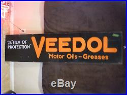 1930's Original VEEDOL 6' Motor Oil Porcelain Advertising Sign Gas Station RARE
