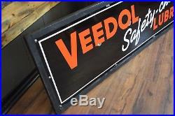 1930's Original VEEDOL 8' Motor Oil Porcelain Advertising Sign Gas Station RARE