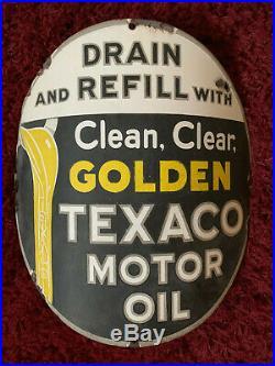 1930's RARE Vintage GOLDEN TEXACO MOTOR OIL curved sign 15 porcelain pump plate