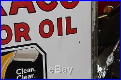 1930's Texaco Motor Oil double-sided porcelain service station curb sign