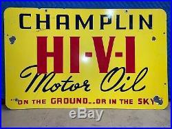 1930s Champlin HI-V-I Motor Oil Porcelain Sign, Dbl Sided