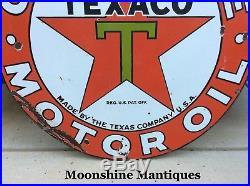 1930s TEXACO Motor Oil Porcelain Sign Gas & Oil
