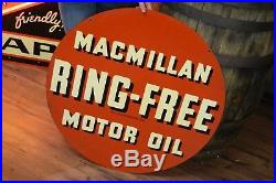 1940's MACMILLAN RING-FREE MOTOR OIL 2 SIDED SIGN GAS Station Oil Advertisement