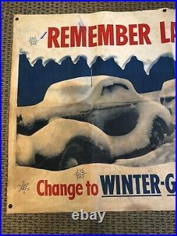 1940s Veedol Motor Oil Banner Remember Last Winter! Advertising Sign RARE