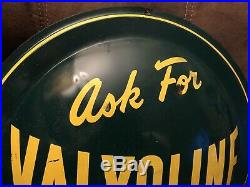 1955 Ask For Valvoline Motor Oil Metal Painted Litho Sign