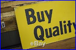 1960's Quaker State Motor Oil 8ft tin sign Gas Oil Station Dealer Advertising