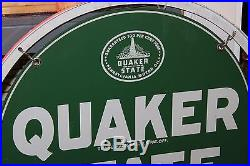 1960's Quaker State Motor Oil Double Sided Metal Sign
