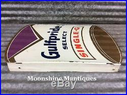1960s Gulfpride Motor Oil Gulf Can Flange Sign Gas & Oil