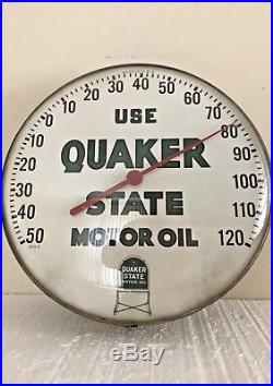 1960s Quaker State Motor Oil Gas Station 12 Metal Thermometer Vintage Sign USA