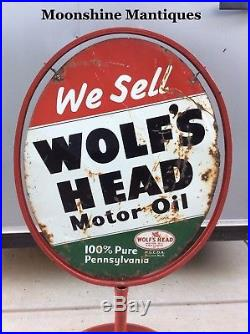 1960s WOLFS HEAD Motor Oil Service Station Curb Sign & Stand Gas & Oil