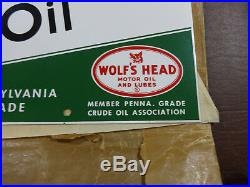 1963 Nos Wolf's Head Motor Oil Can Rack Dst Double Sided Tin Sign Not Porcelain