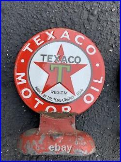 2 ORIGINAL Antique 1920s Texaco Porcelain Motor Oil Lubester Paddle Sign Gas