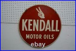 24 Old Original Kendall Motor Oils Double Sided Sign Vintage
