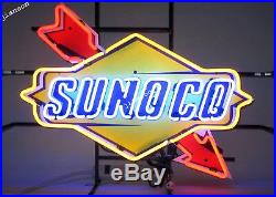 24X18 New SUNOCO RACING FUEL DECAL GAS MOTOR OIL PUMP STATION NEON LIGHT SIGN