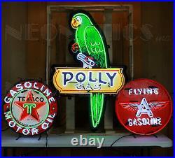 3 Neon Sign Collection Polly Gas Flying A Texaco Motor Oil Garage pump globe
