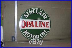 30 Sinclair Opaline Motor Oil Dealer 2-sided Porcelain Metal Sign Gas Garage