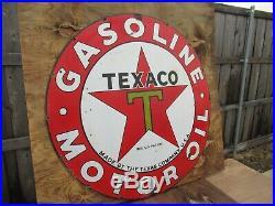42.5 Round authentic org. SSP 1930 Texaco Gasoline & Motor Oil Porcelain Sign