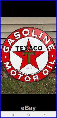 42 DSP Texaco Motor Oil Porcelain Sign Gas Station Ford Chevrolet