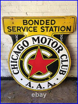 AUTHENTIC Large Vintage Chicago Motor Club AAA Battery Gas Oil Metal Sign