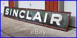 Antique 2pc SINCLAIR Gasoline / Motor Oil 18ft Porcelain Sign Embossed Border