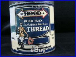 Antique Hood Tire Cord not quart Motor Oil Can Old Car Sign Original Advertising