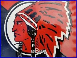 Antique Red Indian Motor Oil Porcelain Enamel Sign Vintage Gas American Indian