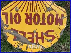 Antique Vtg 20s-30s SHELL MOTOR OIL Double Sided 24 Porcelain Gas Station Sign