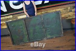 Big Vintage Quaker State Motor Oil Gas Station 72 Metal Sign Wood framed back