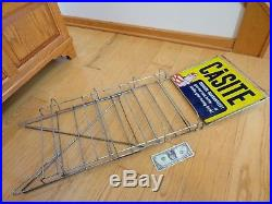 Casite Motor Oil Can Gas Station Display Stand Metal Sign Rack Vintage 1950's