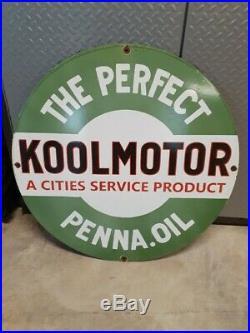Cities Service Koolmotor Gasoline / Motor Oil Porcelain 30 Gas Sign