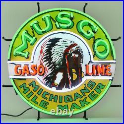Collection of 4 Neon sign Gas Motor oil American Indian Musgo Bruin Buffalo lamp