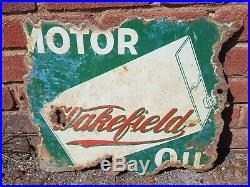 Early 1899 1909 Wakefield Motor Oil D/sided Enamel Sign Green with Oil Can