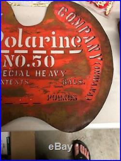 Early 1900s Original Polarine Motor Oil Advertising Vintage Brass Stencil Sign