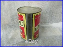 Early Original Lion Head Motor Oil Quart Metal Can Gilmore Oil Co
