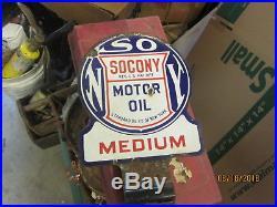 Early Original Socony Medium Motor Oil Porcelain Sign