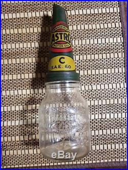Early Original Wakefield Castrol Embossed Motor Oil Bottle With Original Spout