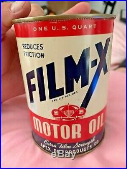 Film-X Quart Can Unused Rare Advertising Motor Oil Sign Minneapolis Minnesota