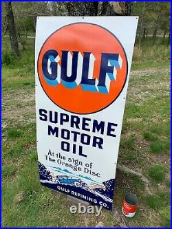 GULF SUPREME MOTOR OIL X-LARGE HEAVY PORCELAIN SIGN (52x 25) NEAR MINT, NICE