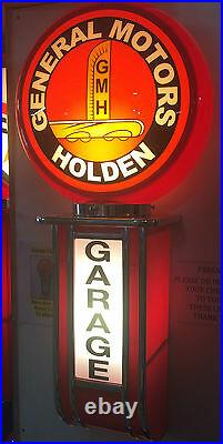 General Motors Holden Garage Light Up Garage Sign Petrol Bowser Oil Bottle Tin