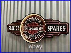 Harley Davidson Motor Oil Huge Embossed Light Up Led Tin Sign Bar Pub