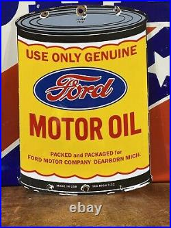 Ing 3- 32 Large Vintage''ford'' Motor Oil Can Porcelain Sign 16x11.5 Inch USA