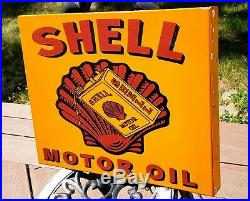 Large Double Sided Flange Shell Motor Oil Gas Pump Sign Heavy 19-3/4×15-3/4